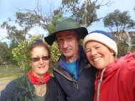 Local climbers Louise Shepherd, Kieran Loughran and Rox enjoying the crisp air, a shovel and dirt. Louise manages Friends Of Arapiles.