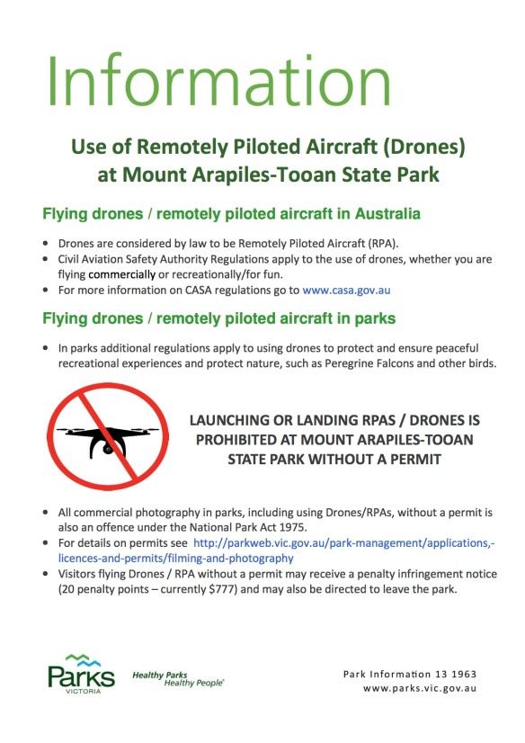Arapiles DroneUsageSign
