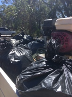 8 bags full. Good clean up day -Sad to say.