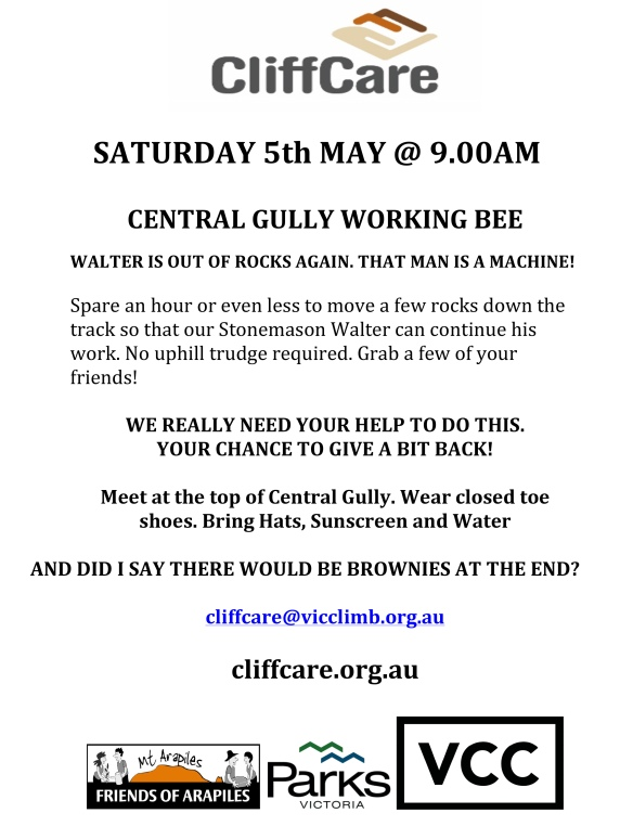 central gully working bee 5th May