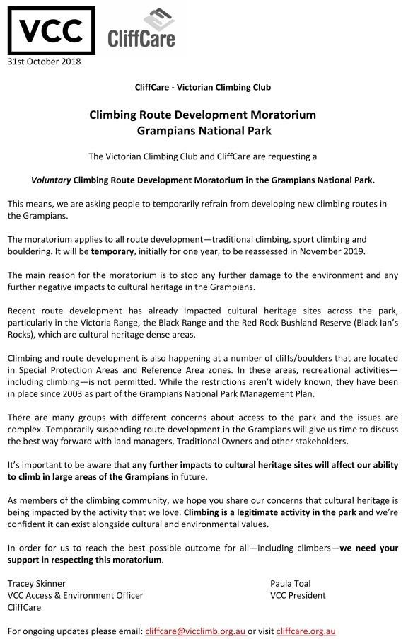 VCC CliffCare Climbing route development moratorium letter NSB e